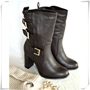 Mid Calf Pull On High Heel Moto Boots with Buckles